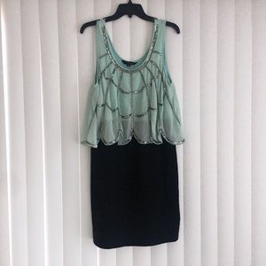 Mini Dress Lime Green Silver Accent Party Dress